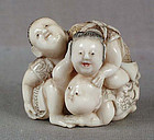 19c netsuke 3 PLAYING BOYS ex Royal Coll