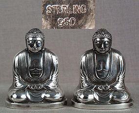 Pair 1930s Japanese silver salts AMIDA BUDDHA