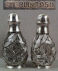 Pair 1930s Japanese silver salt pepper bamboo
