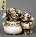 19c netsuke ONI washing EMMA-O by GYOKUSHU
