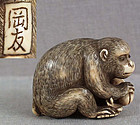 19c netsuke MONKEY with peaches by OKATOMO
