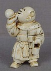 Early 19c netsuke BOY entertainer blowing bubbles