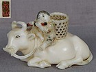 19c netsuke BOY on BUFFALO by EIZAN