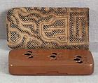 19c Japanese bronze incense game box Tokugawa crest