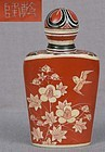 19c Japanese ivory & lacquer SNUFF BOTTLE birds prunus flowers