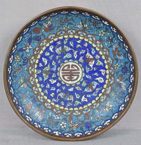 19c Chinese scholar cloisonne PLATE insects bats