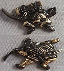 Pair 19c Japanese sword MENUKI fighting SAMURAI