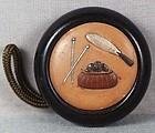 19c netsuke Shibayama TEA CEREMONY utensils
