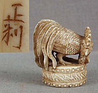 19c netsuke ROOSTER on DRUM by MASATOSHI