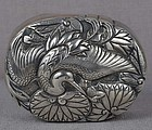 19c Japanese box SILVER CRANE & water lilies