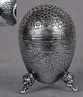 19c Chinese Export silver SALT dragon feet marked