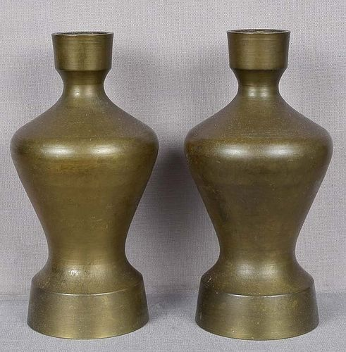 Pair of 19c Japanese bronze altar VASES