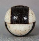 19c OJIME netsuke slide staghorn/rosewood BALL
