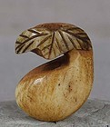 19c OJIME netsuke slide GOURD with leaf