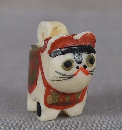 19c OJIME netsuke slide TOY CAT