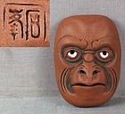 19c netsuke mask KARASU TENGU by SEKIHO