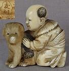 19c netsuke CHINESE BOY with puppy by TOMOTOSHI