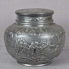 19c Chinese pewter TEA CADDY children at play