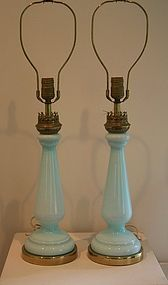 Mid-century blue opalino lamps pair attr. to Seguso