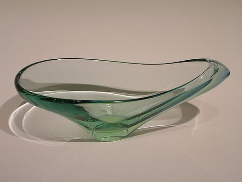 Modern glass sculptural bowl signed Seguso