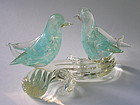 Merletto lovebirds pair attributed to Archimede Seguso