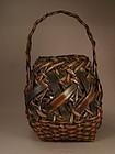 Japanese Split Smoked Bamboo Basket Circa 1920