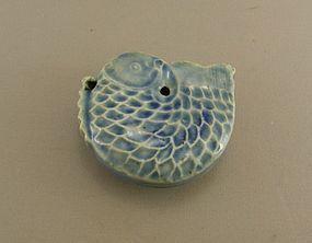 Korean Water Dropper Blue Fish Yi Dynasty