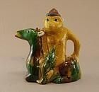 Chinese Porcelain Monkey Deer Wine Pot 19th Century