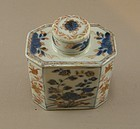 Chinese Imari Tea Caddy Original Lid 18th Century