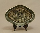 Chinese Porcelain Dish Engrisaille Fitzhugh Circa 1820