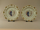 Pair Chinese Export  Armorial Dishes 18th Century