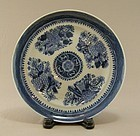 Chinese Porcelain Blue White Plate Fitzhugh 19th Century