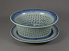 Chinese Canton Blue and White Fruit Basket 19th Century
