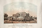 Original Lithograph Of The Phila. Centenial Exhibition