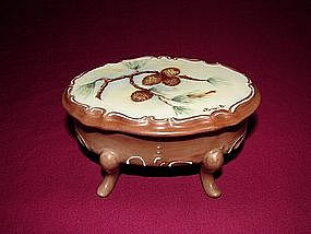 Hand painted Porcelain footed box