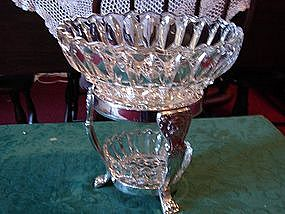 Silver and glass wedding basket