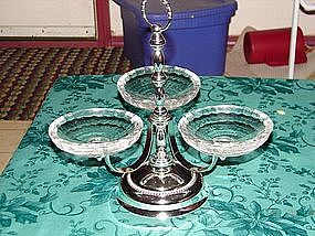 Godinger crystal and silver rotating server