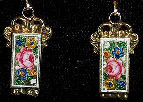 Antique 14k Gold Swiss Enamel Earrings c.1820 Rare Fab