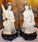 Exquisite Pair Chinese Ivory Carving Musician Beauty