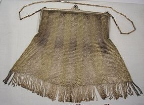 STERLING GOLD WHITING  MESH EVENING PURSE