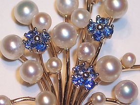 Lovely Vintage 14k Gold Pearl & Sapphire Brooch Pin