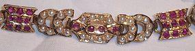 Fine Estate Art Deco 14k Gold Ruby Pearl Bracelet