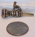 English Figural Dog Pocket Watch Key Fob Charm Agate