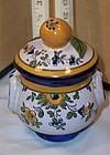 Early Quimper Pot de Creme Jar French Art Pottery