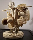 Antique Meiji Japanese Ivory Okimono Basket Peddler