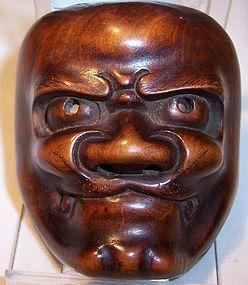 Antique Japanese Wood Mask Netsuke Oni c.1890