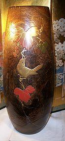 Antique Japanese Wood & Lacquer Folk Art Vase