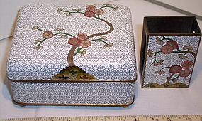 Antique Chinese Cloisonne Box & Match Safe Holder