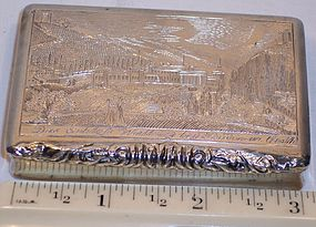 Antique Austrian Sterling Silver Snuff Table Box 1850