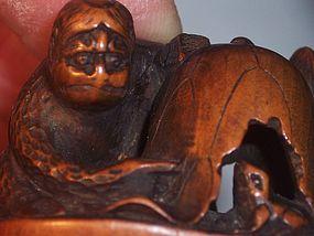 Antique Japanese Wood Netsuke Kappa & Frog Early 19thc